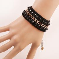 Spitze Armband, mit Glas & Zinklegierung, mit Verlängerungskettchen von 2.7lnch, plattiert, für Frau, frei von Nickel, Blei & Kadmium, verkauft per ca. 5.5 ZollInch Strang