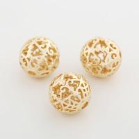 Messing hohle Perlen, rund, goldfarben plattiert, frei von Nickel, Blei & Kadmium, 10mm, Bohrung:ca. 1.5mm, 50PCs/Menge, verkauft von Menge