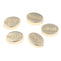 Zinklegierung flache Perlen, flachoval, Wort Freund, goldfarben plattiert, frei von Blei & Kadmium, 11x8x4mm, Bohrung:ca. 1mm, verkauft von PC
