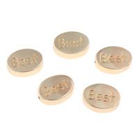 Zinklegierung flache Perlen, flachoval, Wort am besten, goldfarben plattiert, mit Brief Muster, 11x8x4mm, Bohrung:ca. 1mm, verkauft von PC