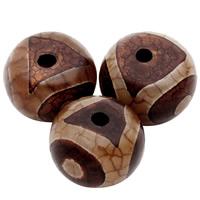 Natürliche Tibetan Achat Dzi Perlen, Trommel, 10x15mm, Bohrung:ca. 2mm, 5PCs/Tasche, verkauft von Tasche