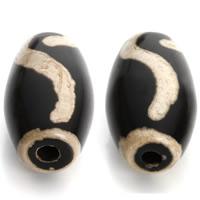 Natürliche Tibetan Achat Dzi Perlen, Trommel, 21-28mm, Bohrung:ca. 3mm, 2PCs/Tasche, verkauft von Tasche