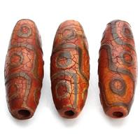 Natürliche Tibetan Achat Dzi Perlen, Trommel, 14x39mm, Bohrung:ca. 3mm, 2PCs/Tasche, verkauft von Tasche