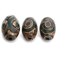 Natürliche Tibetan Achat Dzi Perlen, Trommel, verschiedene Größen vorhanden, Bohrung:ca. 2mm, 5PCs/Tasche, verkauft von Tasche