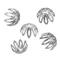 Edelstahl Perle Kappe, Blume, hohl, originale Farbe, 11x7mm, Bohrung:ca. 1mm, 1000PCs/Menge, verkauft von Menge