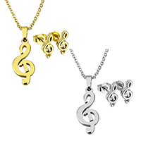 Edelstahl Schmucksets, Ohrring & Halskette, Musiknote, plattiert, Oval-Kette & für Frau, keine, 9.5x22x2mm, 1.5x2x0.5mm, 5x10.5x12mm, Länge:ca. 17.8 ZollInch, verkauft von setzen