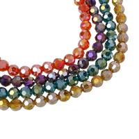 Rondell Kristallperlen, Kristall, bunte Farbe plattiert, facettierte, mehrere Farben vorhanden, 8mm, Bohrung:ca. 1mm, Länge:ca. 20.5 ZollInch, 10SträngeStrang/Tasche, ca. 72PCs/Strang, verkauft von Tasche