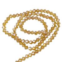 Doppelkegel Kristallperlen, Kristall, bunte Farbe plattiert, facettierte, heller Topas, 4mm, Bohrung:ca. 1mm, Länge:ca. 17 ZollInch, 10SträngeStrang/Tasche, ca. 115PCs/Strang, verkauft von Tasche