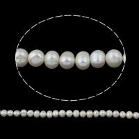 Lagerluft Süßwasser Perlen, Natürliche kultivierte Süßwasserperlen, Kartoffel, natürlich, weiß, 9-10mm, Bohrung:ca. 0.8mm, verkauft per ca. 14.5 ZollInch Strang