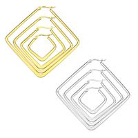 Herren Edelstahl Kreolen, Rhombus, plattiert, verschiedene Größen vorhanden, keine, verkauft von Paar