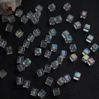 Plattierte Acrylperlen, Acryl, Quadrat, bunte Farbe plattiert, 4x4mm, Bohrung:ca. 1mm, 25000G/Tasche, verkauft von Tasche