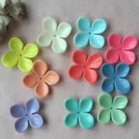 Acryl Perlkappen, Blume, Volltonfarbe, gemischte Farben, 6x34mm, Bohrung:ca. 1mm, ca. 160PCs/Tasche, verkauft von Tasche