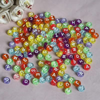 Alphabet Acryl Perlen, flache Runde, mit Brief Muster, gemischte Farben, 7mm, Bohrung:ca. 1mm, ca. 3700PCs/Tasche, verkauft von Tasche