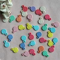 Alphabet Acryl Perlen, flache Runde, mit Brief Muster, gemischte Farben, 13x18mm, Bohrung:ca. 1mm, ca. 1900PCs/Tasche, verkauft von Tasche