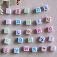 Alphabet Acryl Perlen, mit Brief Muster & gemischt, 6mm, Bohrung:ca. 4mm, ca. 2800PCs/Tasche, verkauft von Tasche