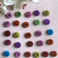 Alphabet Acryl Perlen, mit Brief Muster & gemischt, 7mm, Bohrung:ca. 1mm, ca. 4600PCs/Tasche, verkauft von Tasche