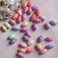 Chemische Wash Acryl Perlen, Trommel, chemische-Waschanlagen, gemischte Farben, 6x10mm, Bohrung:ca. 1mm, ca. 2000PCs/Tasche, verkauft von Tasche