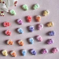 Chemische Wash Acryl Perlen, Schädel, chemische-Waschanlagen, gemischte Farben, 7x9mm, Bohrung:ca. 1mm, ca. 1800PCs/Tasche, verkauft von Tasche