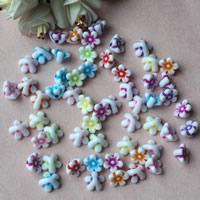 Chemische Wash Acryl Perlen, Blume, chemische-Waschanlagen, gemischte Farben, 10mm, Bohrung:ca. 1mm, ca. 1700PCs/Tasche, verkauft von Tasche