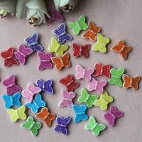 Chemische Wash Acryl Perlen, Schmetterling, chemische-Waschanlagen, gemischte Farben, 12x15mm, Bohrung:ca. 1mm, ca. 1500PCs/Tasche, verkauft von Tasche