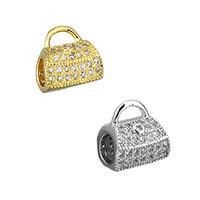 Messing Stiftöse Perlen, Handtasche, plattiert, Micro pave Zirkonia & hohl, keine, 9x10x7mm, Bohrung:ca. 4x2mm,4mm, 20PCs/Menge, verkauft von Menge