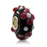 Lampwork Perlen European Stil, Rondell, handgemacht, Messing-Dual-Core ohne troll & großes Loch & uneben, 7x14mm, Bohrung:ca. 5mm, verkauft von PC
