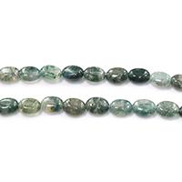 Natürliche Moos Achat Perlen, flachoval, 10x8.50x4mm, Bohrung:ca. 1mm, Länge:ca. 15.5 ZollInch, 5SträngeStrang/Menge, ca. 40PCs/Strang, verkauft von Menge