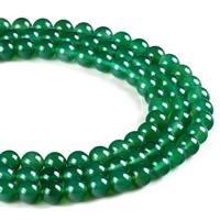 Natürliche grüne Achat Perlen, Grüner Achat, rund, verschiedene Größen vorhanden, Bohrung:ca. 1mm, verkauft per ca. 15.5 ZollInch Strang
