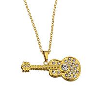 Edelstahl Schmuck Halskette, Gitarre, goldfarben plattiert, Oval-Kette & für Frau & mit Strass, 33x14.5x4mm, 1.5x2x0.3mm, verkauft per ca. 18 ZollInch Strang
