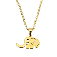 Edelstahl Schmuck Halskette, Elephant, goldfarben plattiert, Oval-Kette & für Frau, 20x12.5x1.5mm, 1.5x2x0.3mm, verkauft per ca. 18 ZollInch Strang