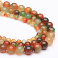 Zwei Ton Achat Perlen, Zweifarbiger Achat, rund, verschiedene Größen vorhanden, Bohrung:ca. 1mm, verkauft per ca. 15 ZollInch Strang