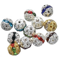 Strass Messing Perlen, rund, plattiert, mit Strass & hohl, keine, frei von Nickel, Blei & Kadmium, 8mm, Bohrung:ca. 1.6mm, 200PCs/Tasche, verkauft von Tasche