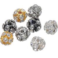 Strass Messing Perlen, rund, plattiert, mit Strass & hohl, keine, frei von Nickel, Blei & Kadmium, 6mm, Bohrung:ca. 1.2mm, 100PCs/Tasche, verkauft von Tasche