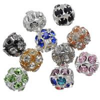 Strass Messing Perlen, rund, plattiert, mit Strass & hohl, keine, frei von Nickel, Blei & Kadmium, 10mm, Bohrung:ca. 1.2mm, 100PCs/Tasche, verkauft von Tasche