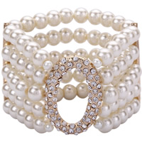 Zinklegierung Armreif, mit ABS-Kunststoff-Perlen, goldfarben plattiert, für Frau & mit Strass, frei von Blei & Kadmium, 40mm, verkauft per ca. 7 ZollInch Strang