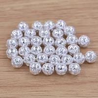 Messing hohle Perlen, rund, versilbert, frei von Blei & Kadmium, 8mm, Bohrung:ca. 1mm, verkauft von PC