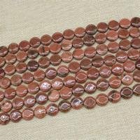 Goldsand Perle, flache Runde, synthetisch, 14mm, Länge:ca. 15 ZollInch, 3SträngeStrang/Tasche, ca. 26PCs/Strang, verkauft von Tasche