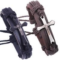 Unisex-Armband & Bangle, Kuhhaut, mit Hanfgarn & Zinklegierung, Jesus Kreuz, metallschwarz plattiert, einstellbar, keine, frei von Nickel, Blei & Kadmium, verkauft per ca. 7.4 ZollInch Strang