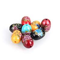 Harz Schmuckperlen, oval, Drucken, gemischte Farben, 13.50x19.50x13.50mm, Bohrung:ca. 2.5mm, 10PCs/Menge, verkauft von Menge