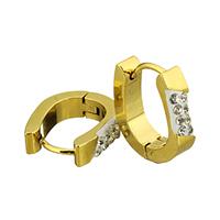 Huggie Ohrreifen, Edelstahl, mit Ton, goldfarben plattiert, 4x15x13mm, 12PaarePärchen/Tasche, verkauft von Tasche