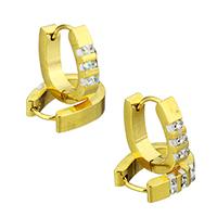 Huggie Ohrreifen, Edelstahl, mit Ton, goldfarben plattiert, keine, 4x15.50x14mm, 12PaarePärchen/Tasche, verkauft von Tasche