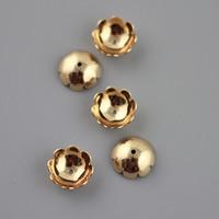 Messing Perlenkappe, Blume, goldfarben plattiert, frei von Blei & Kadmium, 10mm, Bohrung:ca. 3-5mm, ca. 300PCs/Tasche, verkauft von Tasche