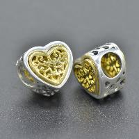 925 Sterlingsilber European Perlen, 925 Sterling Silber, Herz, plattiert, ohne troll & zweifarbig & hohl, Bohrung:ca. 4.5-5mm, verkauft von PC