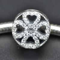 925 Sterlingsilber European Perlen, 925 Sterling Silber, vierblättriges Kleeblatt, ohne troll & mit kubischem Zirkonia & hohl, Bohrung:ca. 4.5-5mm, verkauft von PC