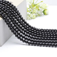 Natürliche schwarze Achat Perlen, Schwarzer Achat, rund, verschiedene Größen vorhanden, Länge:ca. 15.5 ZollInch, ca. 2SträngeStrang/Tasche, verkauft von Tasche