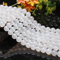 Natürliche weiße Achat Perlen, Weißer Achat, rund, verschiedene Größen vorhanden, Länge:ca. 15.5 ZollInch, ca. 2SträngeStrang/Tasche, verkauft von Tasche