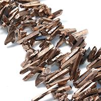 Natürlicher Quarz Perle, antike Goldfarbe plattiert, facettierte, 17-35x5-7x5-8mm, Bohrung:ca. 1mm, ca. 90PCs/Strang, verkauft per ca. 16 ZollInch Strang