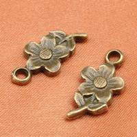 Zinklegierung Blume Anhänger, antike Bronzefarbe plattiert, frei von Blei & Kadmium, 10.5x21mm, Bohrung:ca. 1-1.5mm, 200PCs/Tasche, verkauft von Tasche