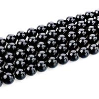 Schwarze Obsidian Perlen, Schwarzer Obsidian, rund, natürlich, verschiedene Größen vorhanden, Bohrung:ca. 1mm, verkauft per ca. 15 ZollInch Strang