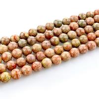 Unakit Perlen, Unakite, rund, natürlich, verschiedene Größen vorhanden, Bohrung:ca. 1mm, verkauft per ca. 15 ZollInch Strang